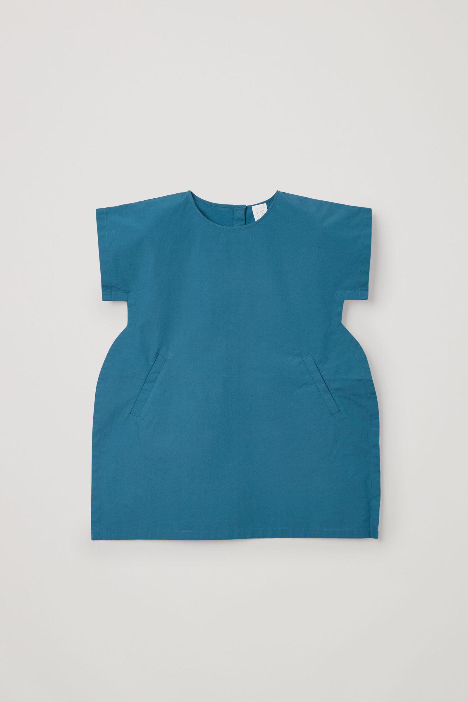 COS 쇼트 슬리브 코튼 드레스의 블루컬러 Product입니다.