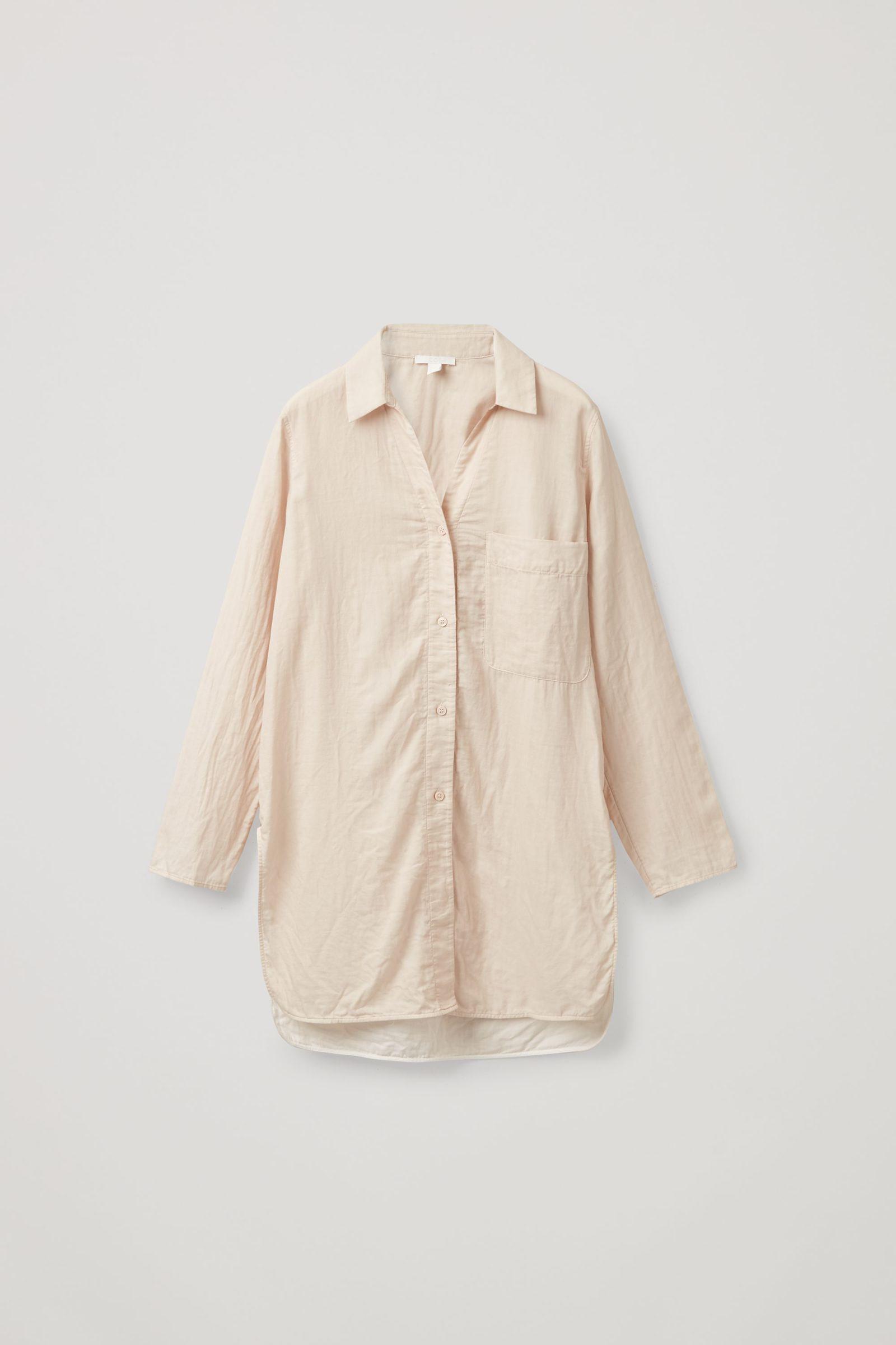 COS 오가닉 코튼 오버사이즈 튜닉 스타일 셔츠의 베이지컬러 Product입니다.