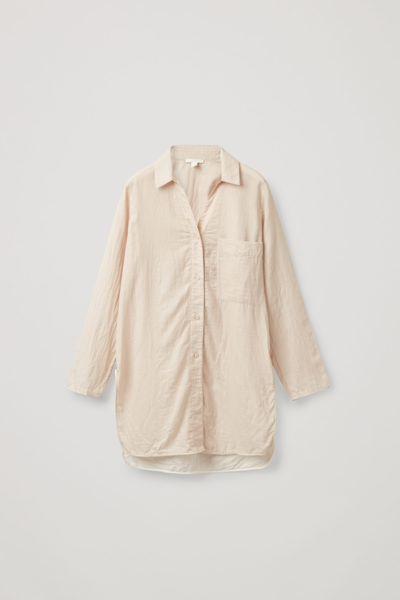 COS hover image 9 of 브라운 in 오가닉 코튼 오버사이즈 튜닉 스타일 셔츠