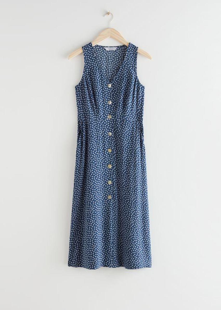 앤아더스토리즈 슬리브리스 버튼 업 미디 드레스의 블루 프린트컬러 Product입니다.