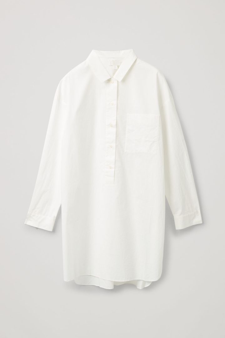 COS hover image 1 of 화이트 in 코튼 포플린 셔츠 드레스