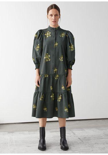 &OS image PRA default 1 of  in 와이드 티어드 퍼프 슬리브 미디 드레스