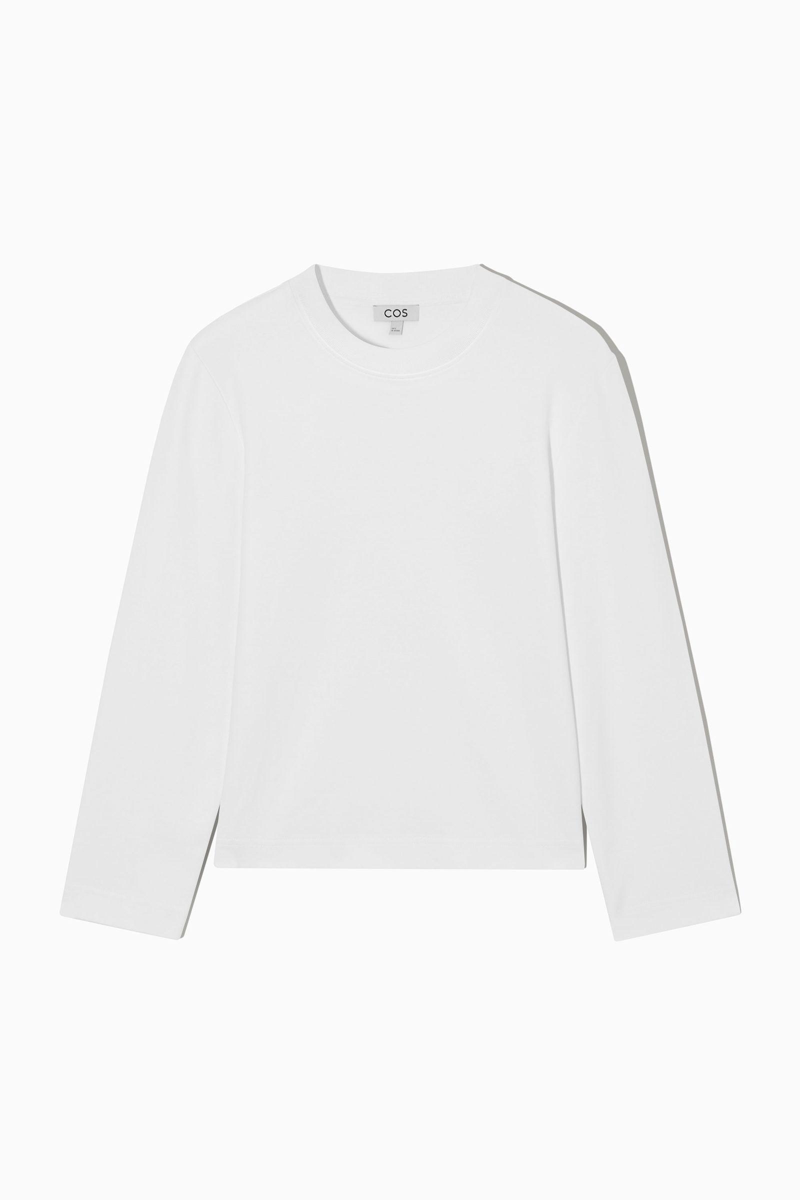 COS 슬림 핏 롱 슬리브 티셔츠 의 화이트컬러 Product입니다.
