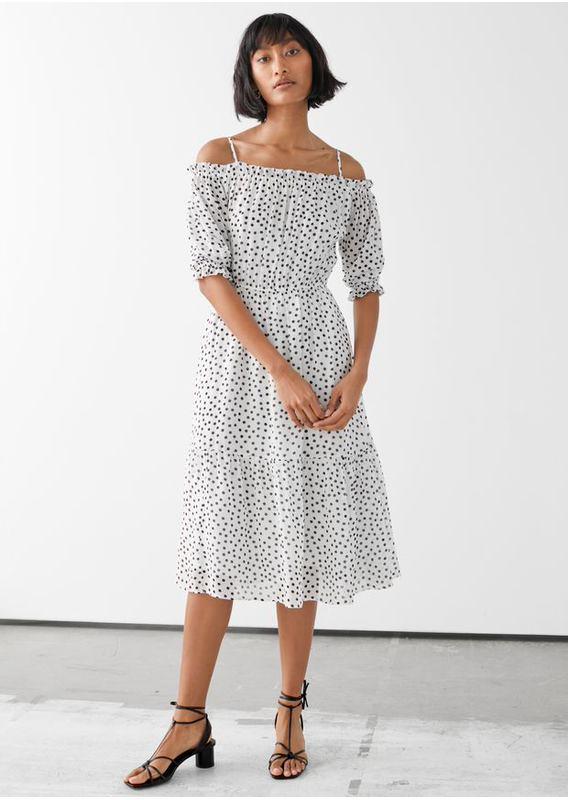 &OS image 3 of 화이트 폴카 in 시폰 오프 숄더 미디 드레스