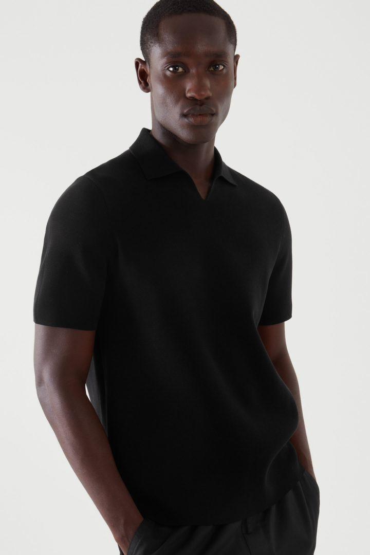 COS default image 8 of 블랙 in 오픈 칼라 폴로 셔츠