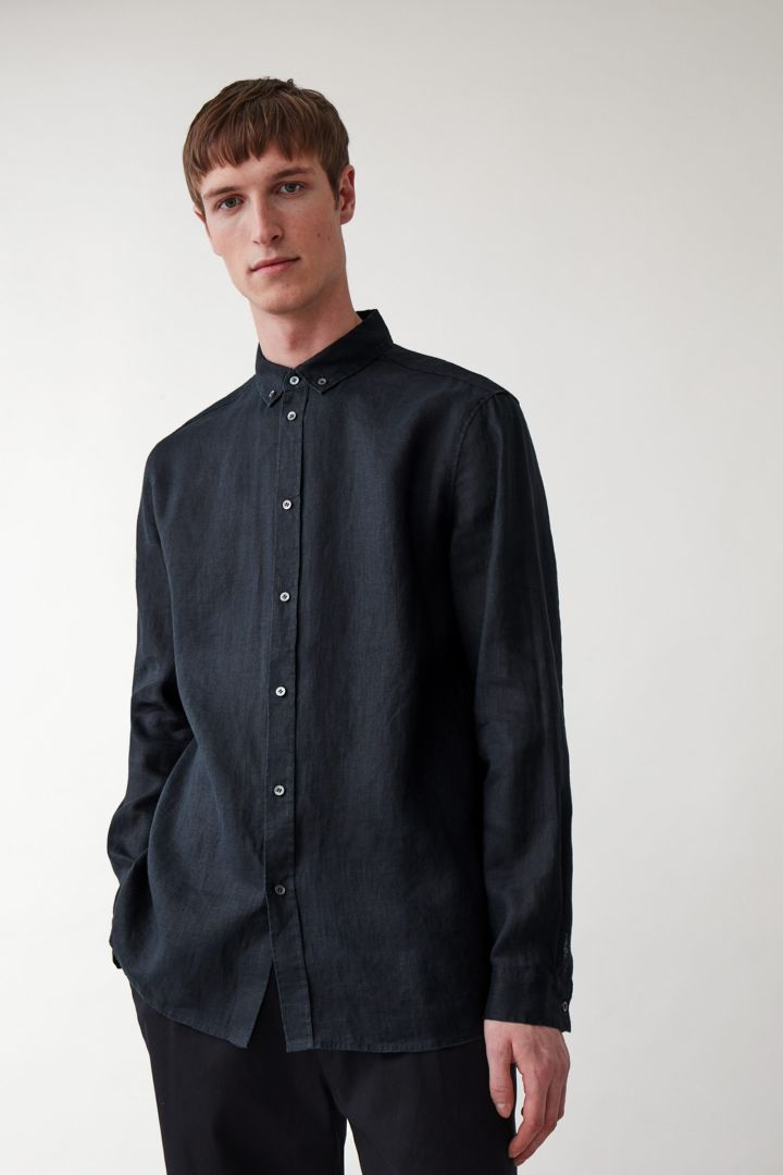 COS default image 11 of 블루 in 버튼다운 헴프 셔츠