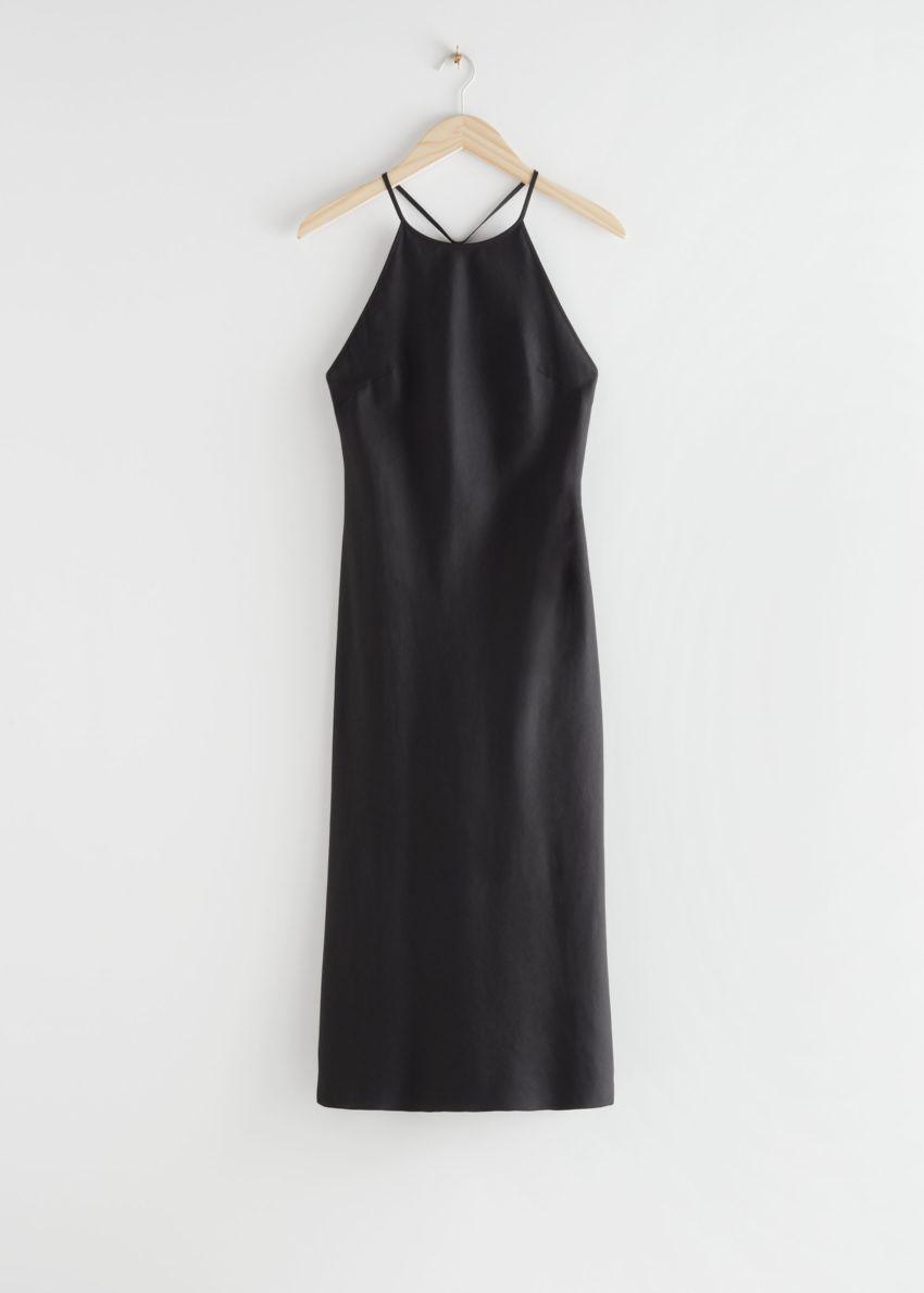 앤아더스토리즈 백 스트랩 미디 드레스의 블랙컬러 Product입니다.