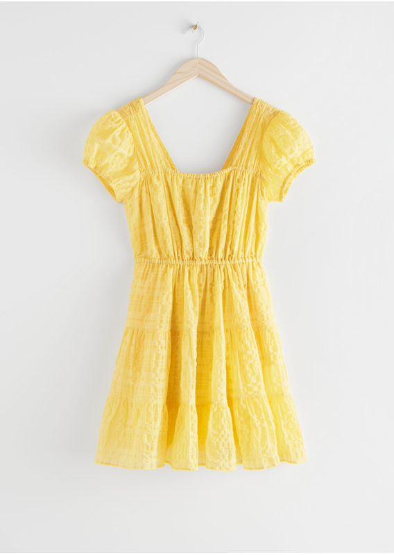 &OS image 1 of 옐로우 in 퍼프 슬리브 러플 미니 드레스