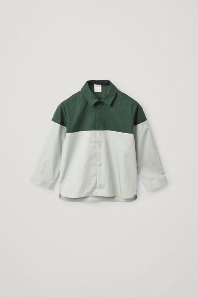 COS default image 4 of 그린 in 컬러 블록 코튼 셔츠