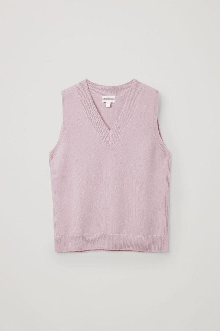 COS V넥 캐시미어 베스트의 핑크컬러 Product입니다.