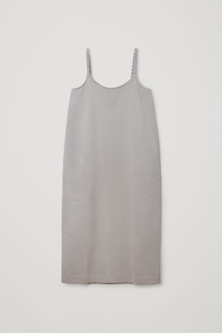 COS 오가닉 코튼 라운디드 헴 슬립 드레스의 그레이컬러 Product입니다.