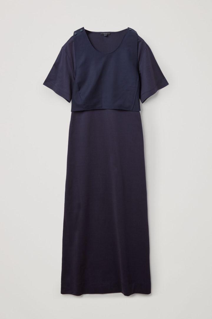 COS 레이어드 코튼 저지 드레스의 네이비컬러 Product입니다.