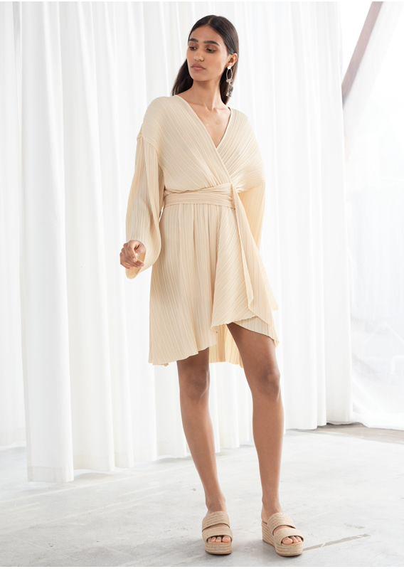 &OS image 0 of  in 플리세 플리츠 폴리에스터 블렌드 드레스