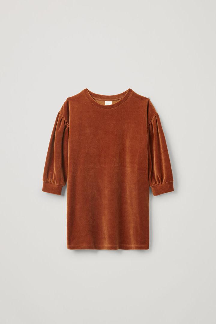 COS default image 4 of 오렌지 in 코튼 벨루어 드레스
