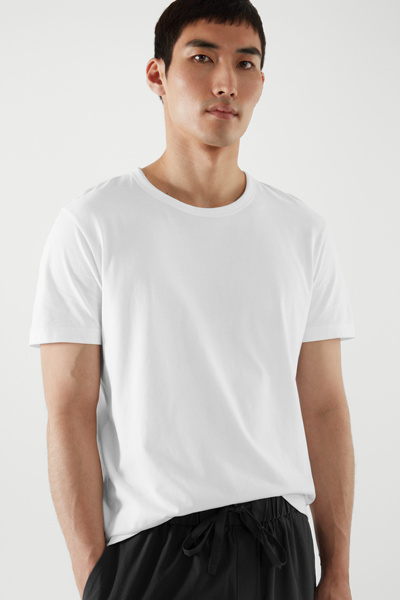 COS hover image 6 of 화이트 in 레귤러 핏 브러쉬드 코튼 티셔츠