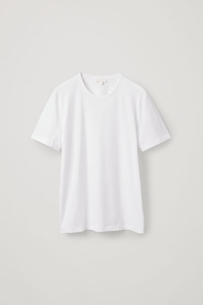 COS default image 6 of 화이트 in 레귤러 핏 브러쉬드 코튼 티셔츠