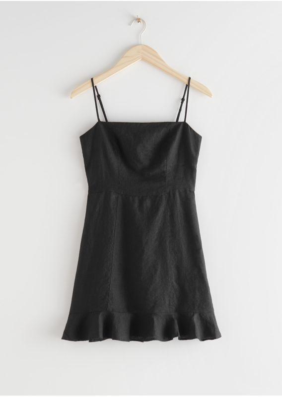 &OS image 3 of 블랙 in 스파게티 스트랩 리넨 미니 드레스