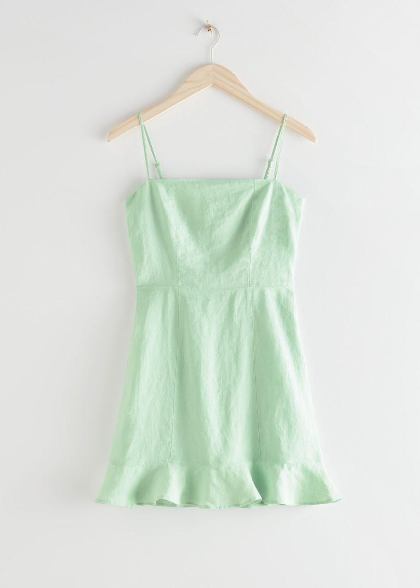 앤아더스토리즈 스파게티 스트랩 리넨 미니 드레스의 그린컬러 Product입니다.