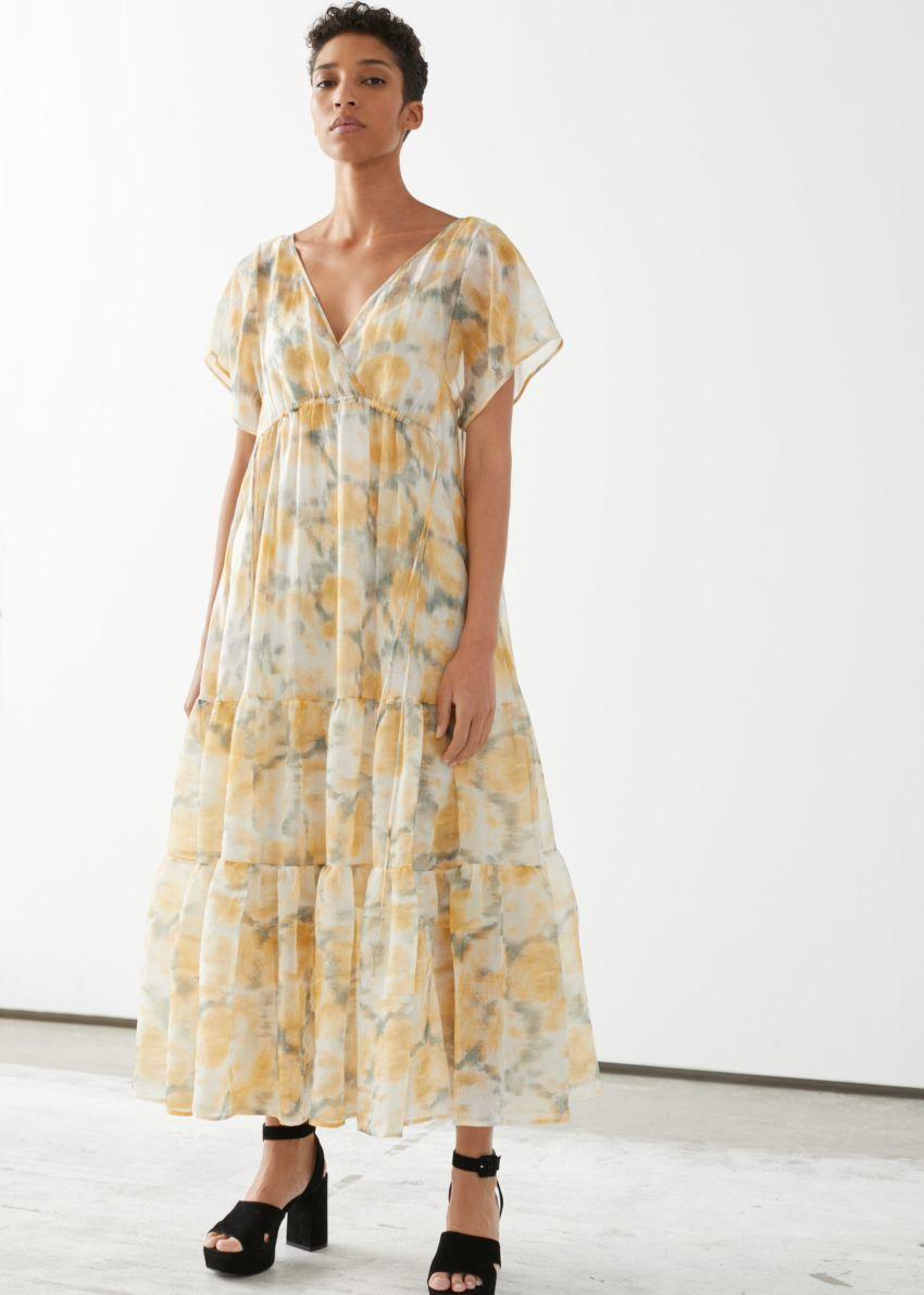 &OS image 2 of 옐로우 플로럴 in 시어 리오셀 블렌드 맥시 드레스