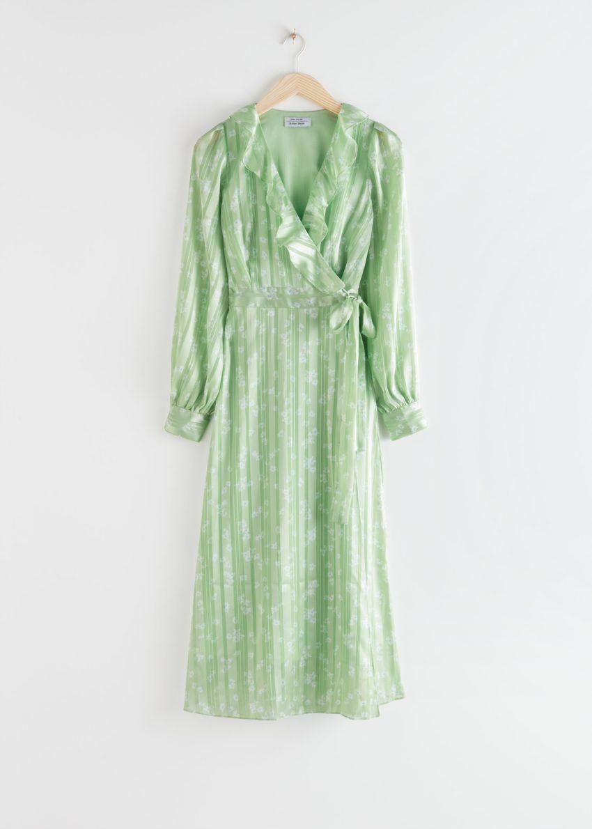 앤아더스토리즈 러플 자카드 미디 랩 드레스의 그린 프린트컬러 Product입니다.