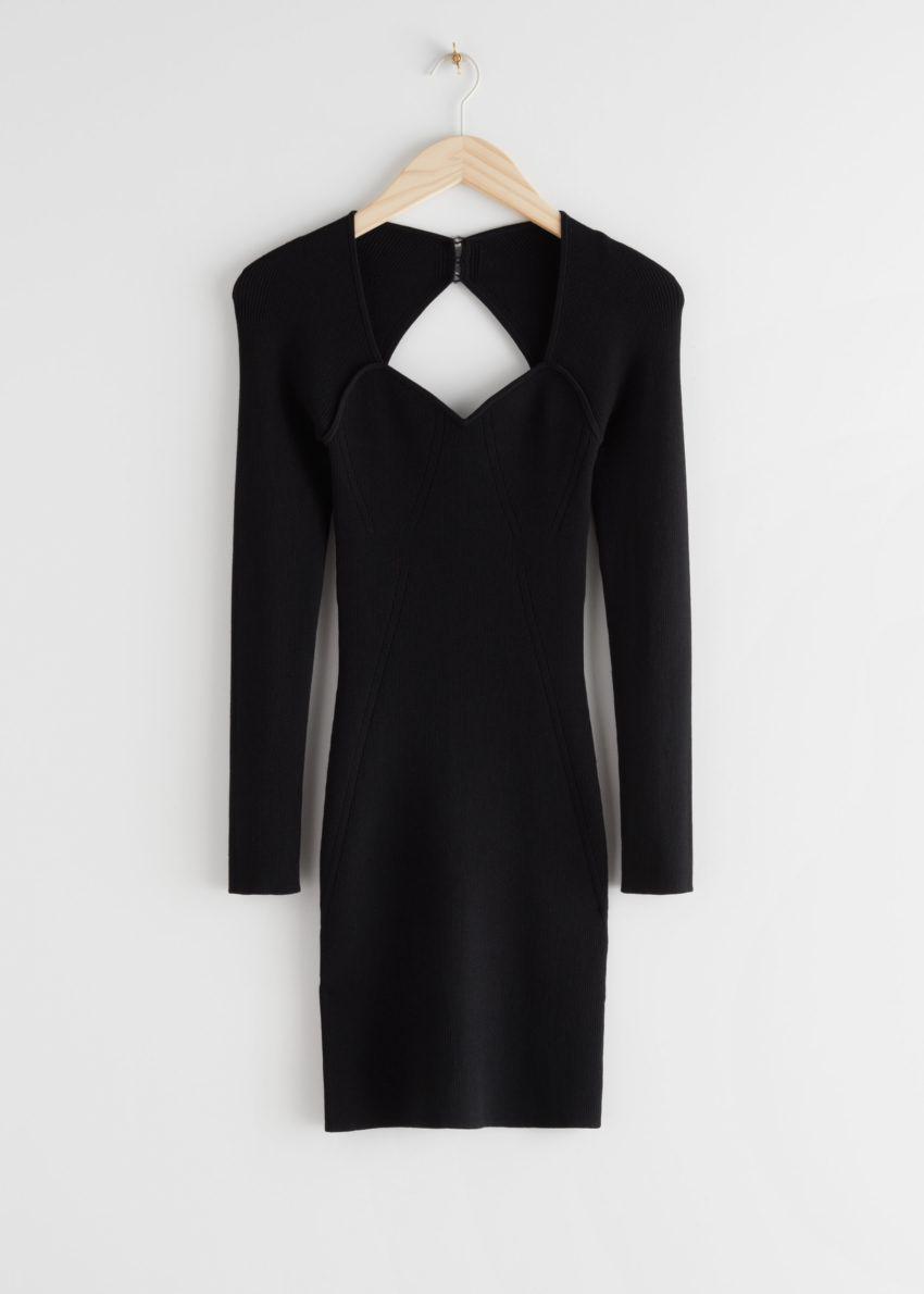 앤아더스토리즈 립 스위트하트 넥 뷔스티에 미니 드레스의 블랙컬러 Product입니다.