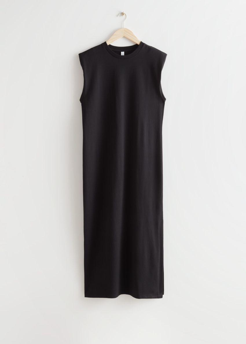 앤아더스토리즈 저지 탱크 미디 드레스의 블랙컬러 Product입니다.