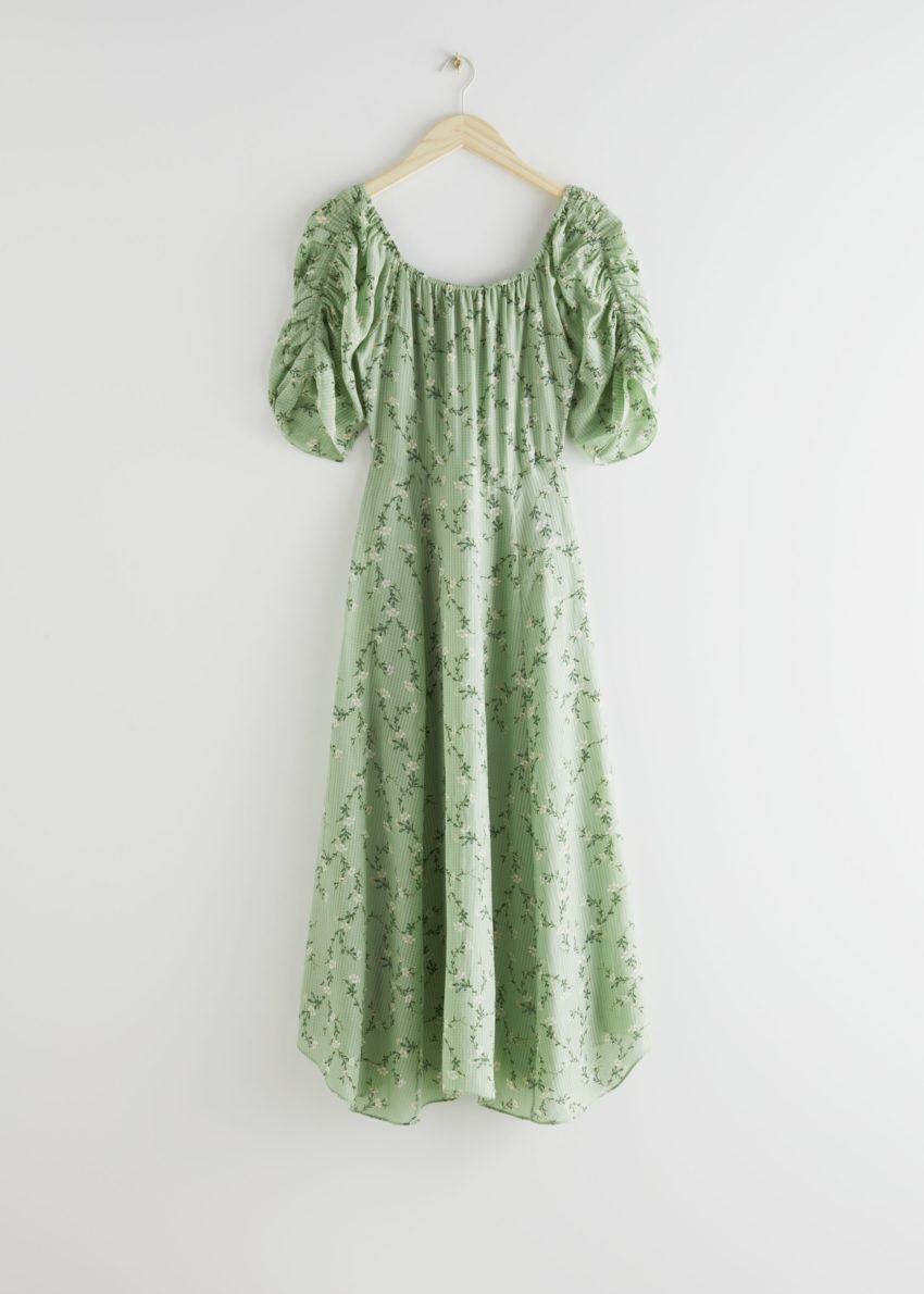 앤아더스토리즈 루시드 슬리브 미디 드레스의 그린 플로럴컬러 Product입니다.