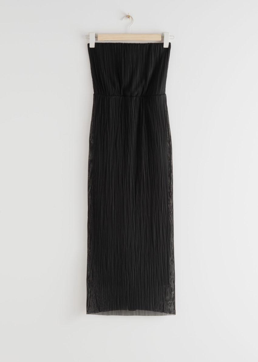 앤아더스토리즈 스트랩리스 피티드 미디 드레스의 블랙컬러 Product입니다.