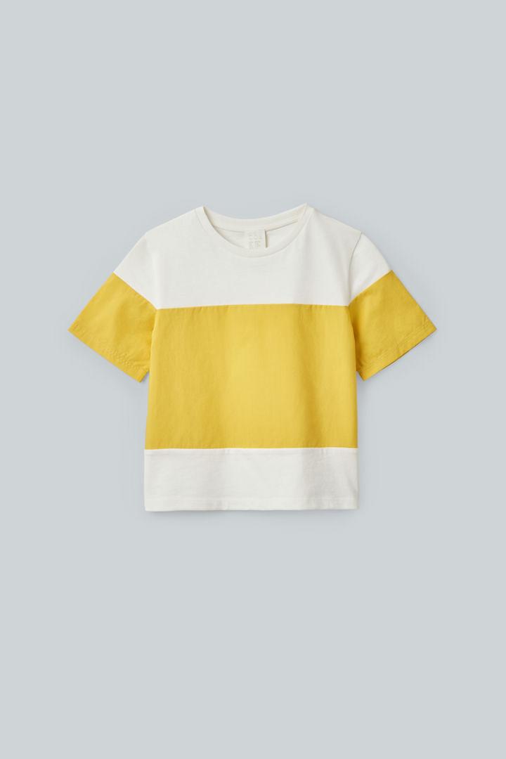 COS default image 1 of 화이트 in 우븐 패널 오가닉 코튼 티셔츠