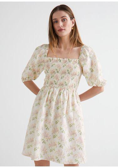 &OS image PRA default 1 of  in 플로럴 프린트 퍼프 슬리브 미니 드레스