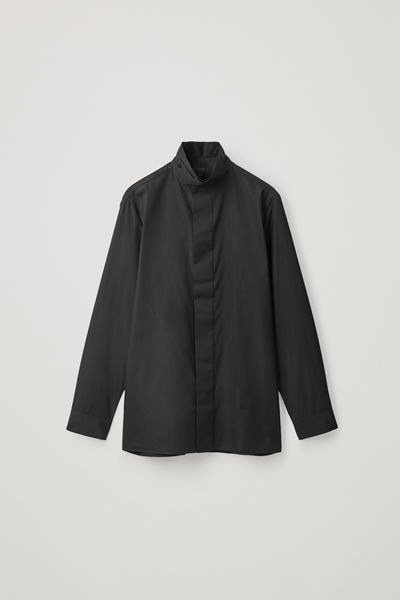 COS default image 9 of 블랙 in 퍼널 칼라 코튼 셔츠