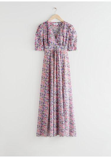 &OS image Style With default 0 of 핑크 플로럴 in 플로럴 프린트 맥시 드레스