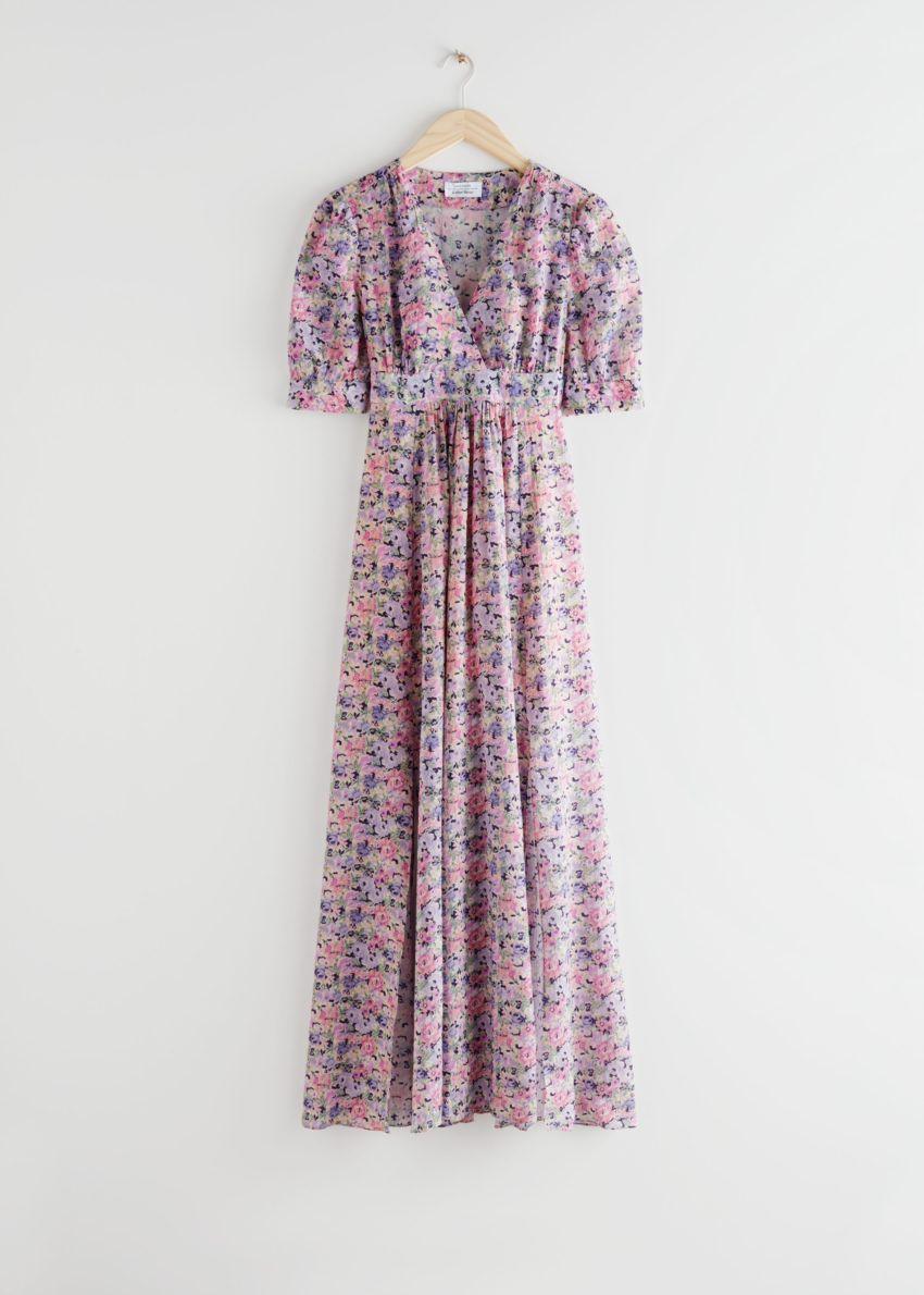 앤아더스토리즈 코튼 블렌드 커피 빈 미디 드레스의 핑크 플로럴컬러 Product입니다.