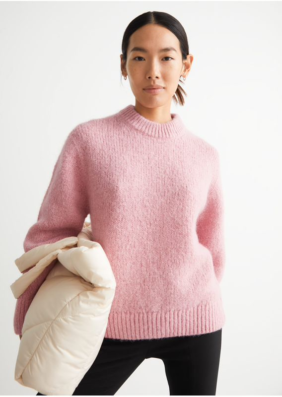 &OS image 7 of 핑크 in 오버사이즈 알파카 울 점퍼