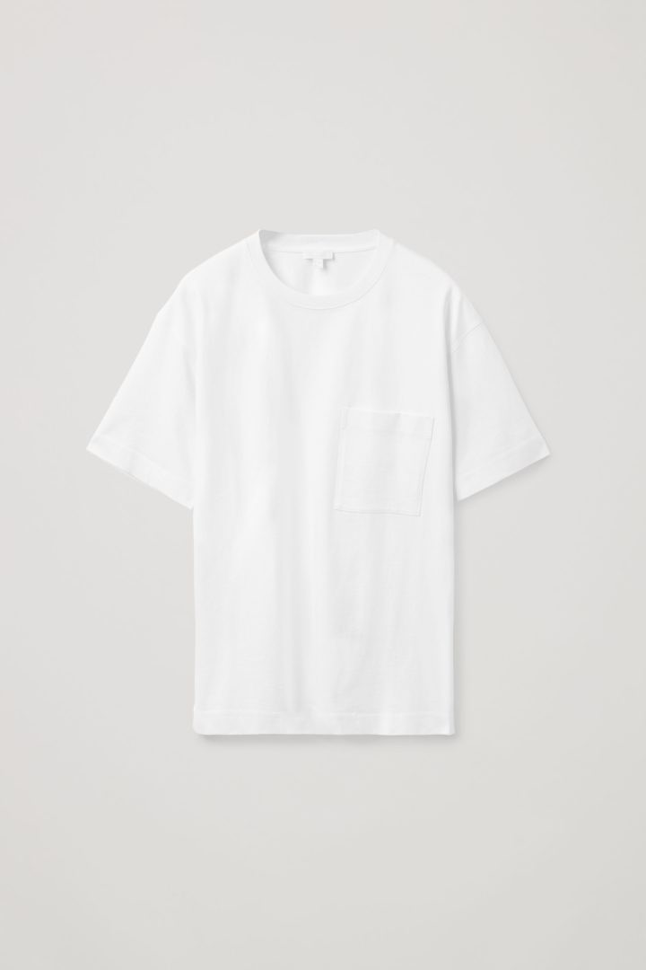 COS hover image 9 of 화이트 in 릴랙스드 핏 패치 포켓 티셔츠