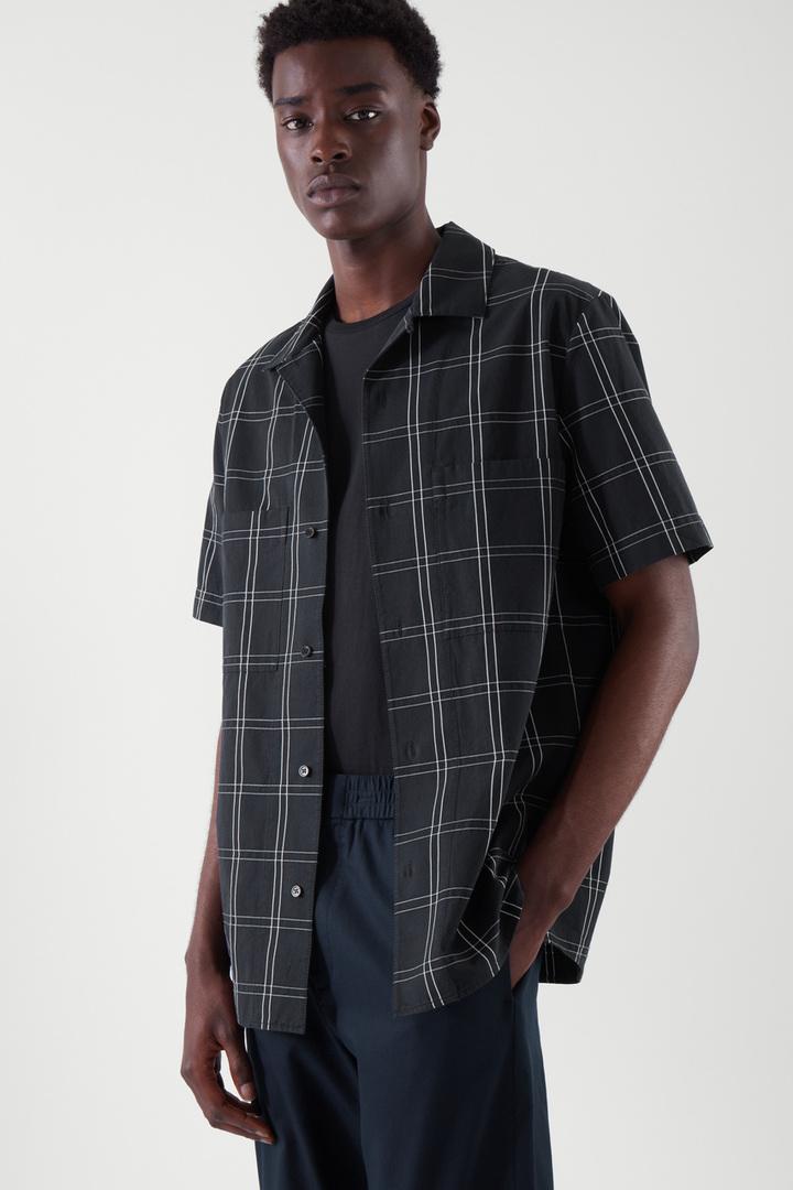 COS default image 3 of 블루 in 캠프 칼라 포플린 셔츠