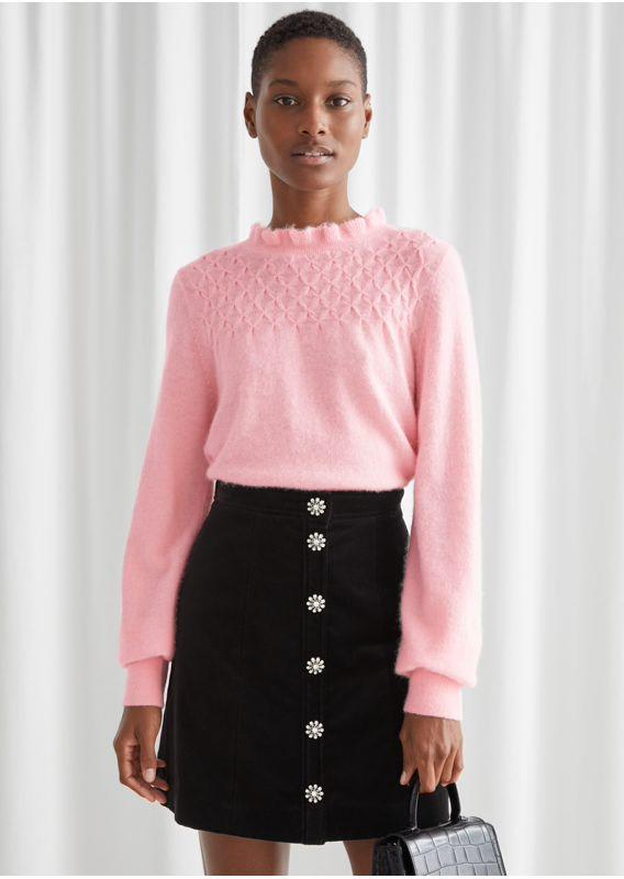 &OS image 26 of 핑크 in 러플 카라 울 니트 스웨터