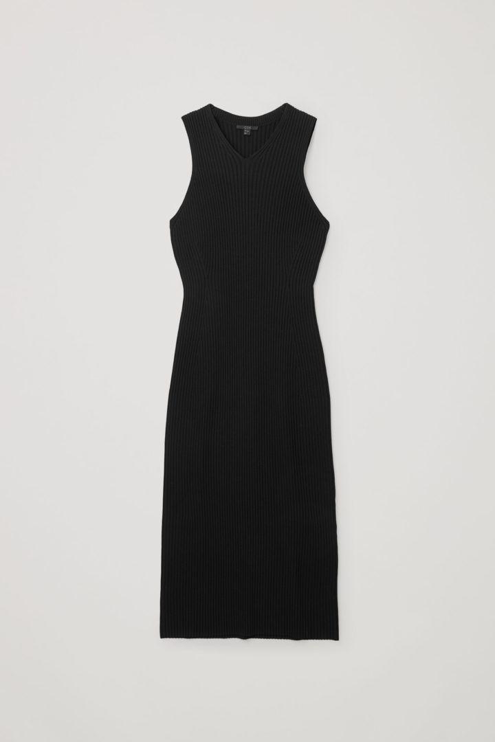 COS hover image 8 of 블랙 in V넥 리브드 튜브 드레스