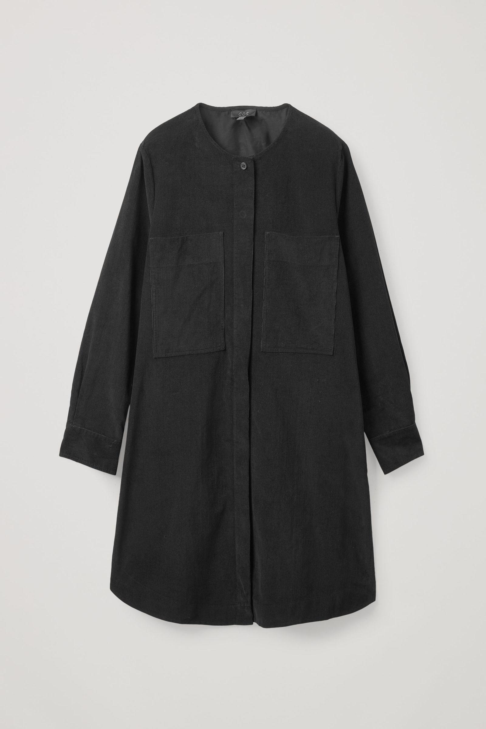 COS A라인 코튼 코듀로이 셔츠 드레스의 블랙컬러 Product입니다.