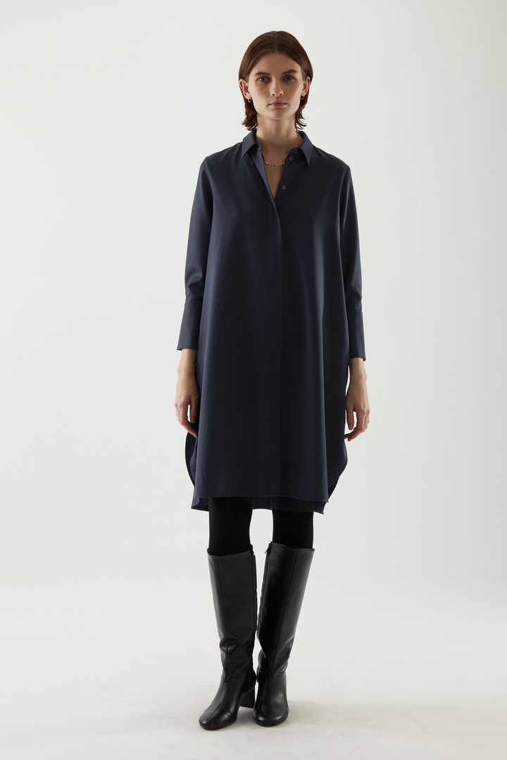 COS default image 11 of 블루 in 울 믹스 셔츠 드레스