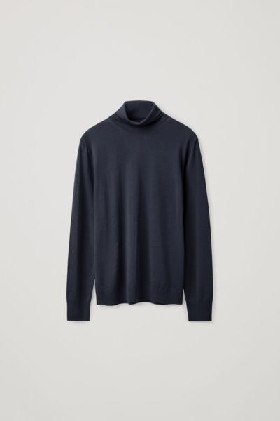 COS hover image 1 of 블루 in 메리노 롤넥 스웨터