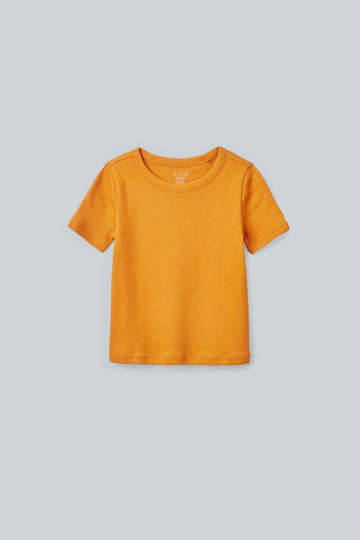COS default image 12 of 오렌지 in 리브드 오가닉 코튼 티셔츠