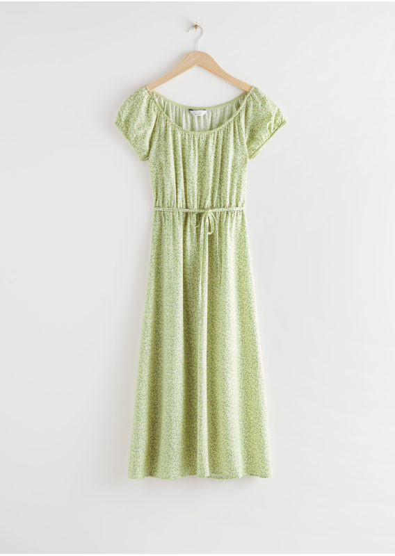 &OS image 4 of 그린 플로럴 in 스쿠프 넥 퍼프 슬리브 미디 드레스