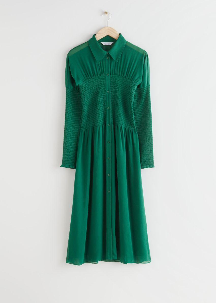 앤아더스토리즈 스모크 버튼 업 미디 드레스의 그린컬러 Product입니다.