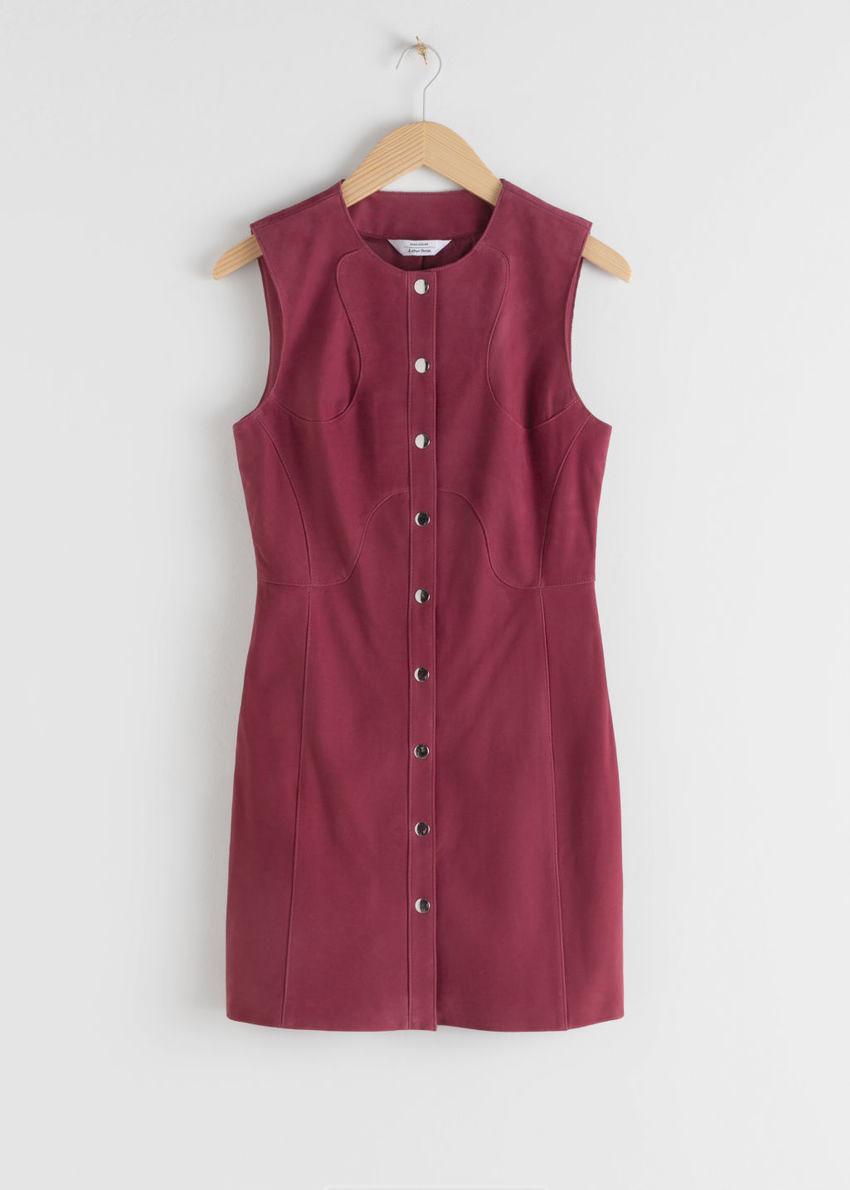 앤아더스토리즈 스웨이드 미니 슬리브리스 드레스의 다크 핑크컬러 Product입니다.