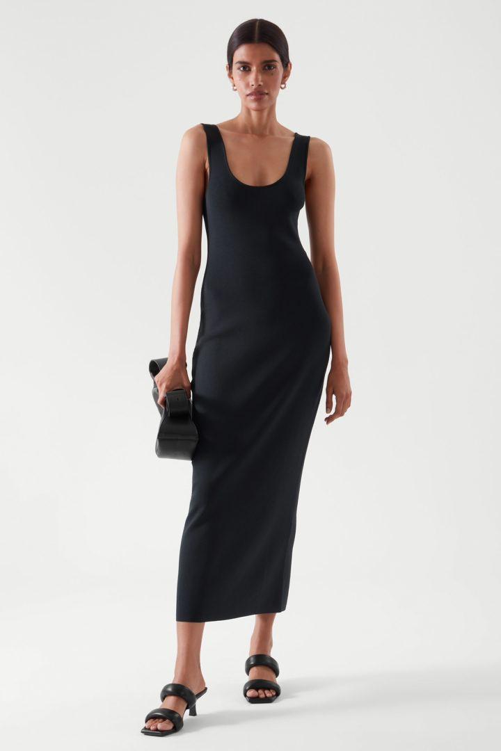 COS default image 2 of 블루 in 니티드 미디 튜브 드레스