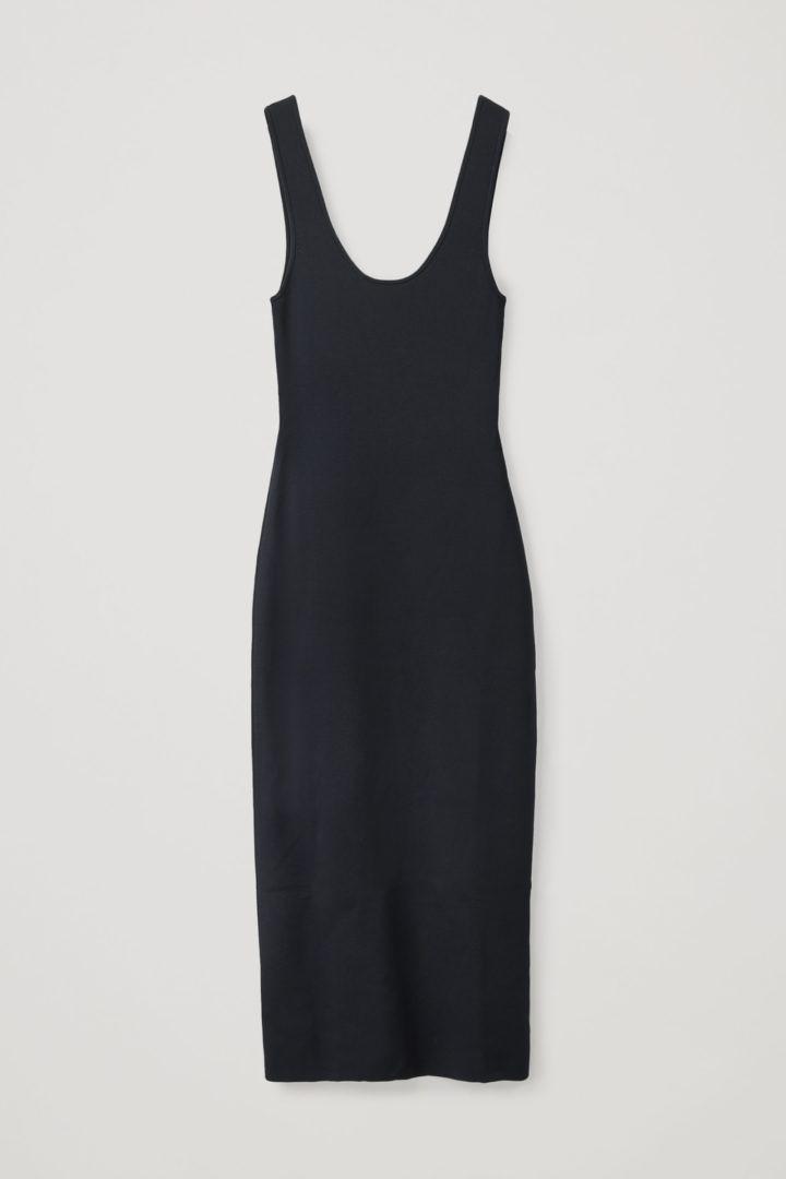 COS hover image 2 of 블루 in 니티드 미디 튜브 드레스