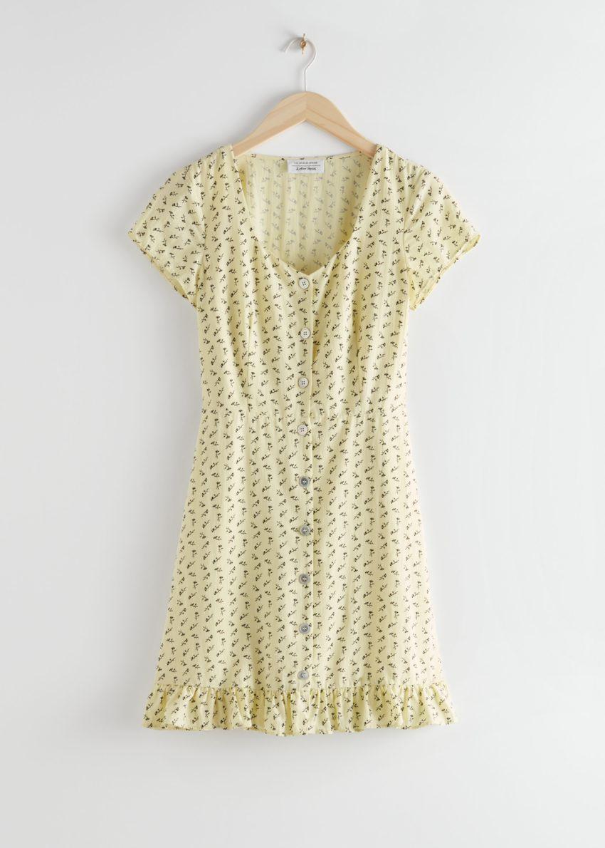 앤아더스토리즈 버튼 업 미니 드레스의 옐로우 프린트컬러 Product입니다.
