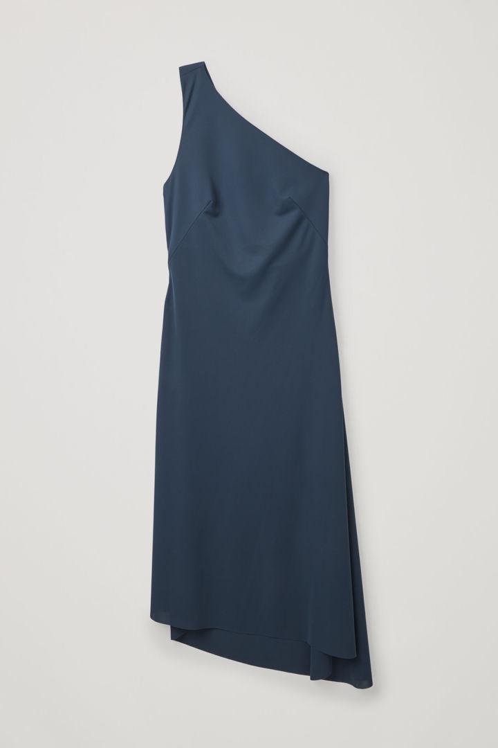 COS hover image 1 of 블루 in 애시메트릭 스트랩 저지 드레스