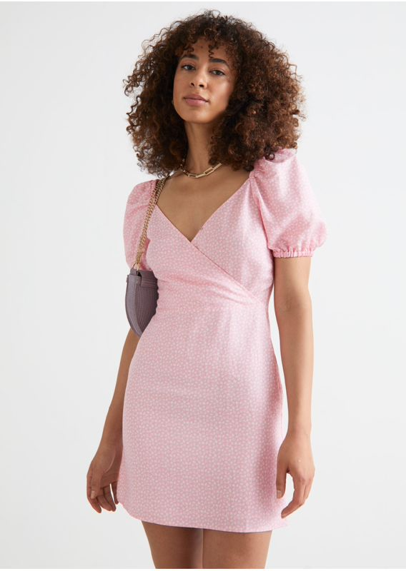 &OS image 3 of 핑크 프린트 in 피티드 퍼프 슬리브 미니 드레스